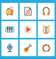 music icons flat style set with play list begin vector image vector image