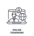 online teamwork concept line icon concept online vector image vector image
