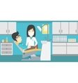 Patient and doctor at dentist office vector image vector image