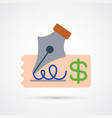 pen writing on cheque icon design cheque icon vector image