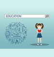 reading girl with education search engine bar vector image vector image