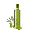 realistic detailed olive oil glass bottle vector image vector image