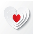 Red paper heart Valentines day card on white vector image vector image