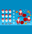 santa claus in red clothes set different vector image vector image