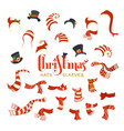set of santa hats and scarves vector image