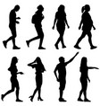 silhouette group of people standing on white vector image vector image