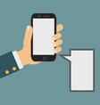 smartphone in human hand vector image vector image