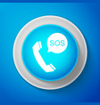 sos call icon isolated on blue background vector image
