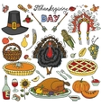 Thanksgiving dayDoodle icons colorful set vector image vector image