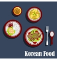 Traditional dishes of korean cuisine vector image vector image