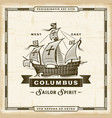 vintage columbus label vector image