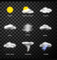 weather forecast app flat icons set vector image