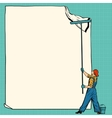 worker painter sticks white poster vector image vector image