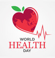 world health day with map vector image vector image