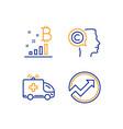 writer bitcoin graph and ambulance car icons set vector image vector image