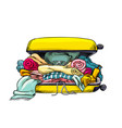 yellow suitcase overloaded opened full stuff vector image