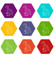young dinosaur icons set 9 vector image vector image