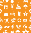 1Seamless Beach and vacation icons pattern vector image vector image