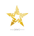 Abstract Gold star with arrows design element on vector image vector image