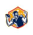 American Football Quarterback QB Woodcut vector image vector image