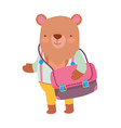 back to school education cute bear with bag and vector image