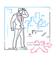 businessman hesitating - line design style vector image vector image