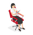 businesswoman on red office chair vector image vector image