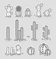 cacti in the desert set of black and white vector image vector image