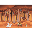 Cartoon Autumn Forest with Animals vector image vector image
