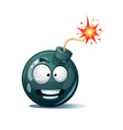cartoon bomb fuse wick spark icon scared vector image
