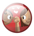cartoon character of a boy and a girl holding vector image