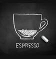 chalk drawn sketch espresso coffee cup vector image vector image
