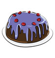 cherry cake on white background vector image vector image
