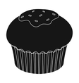 Chocolate cupcake icon in black style isolated on vector image