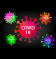 colorful covid-19 virus icons and symbol on black vector image vector image