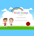 colorful kids summer camp diploma certificate vector image vector image