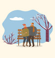 couple sitting on bench in winter time vector image vector image