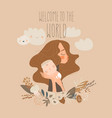 cute mother hugging her baby happy mothers day vector image vector image
