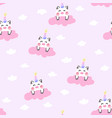 cute unicorn pig in the pink cloud vector image vector image