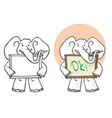 drawing elephant with pencil and blank picture vector image vector image