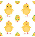 easter eggs and cute baby chicken seamless pattern vector image vector image