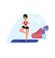 girl doing breath exercise woman standing in vector image