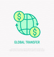 global transfer money moving around globe vector image