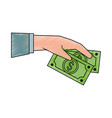 hand holding dollar bill money related icon image vector image vector image
