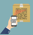 hand holding mobile phone scanning qr code on vector image