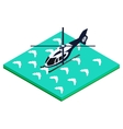 helicopter landing on water vector image