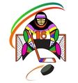 Hockey goalkeeper in the gate vector image vector image