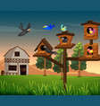 many birds in birdhouse on the farm vector image vector image