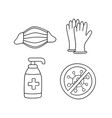 medical face mask latex gloves and sanitizer vector image vector image