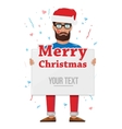 Merry christmas man with the Board vector image